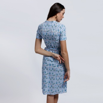Lee Cooper Printed Shirt Dress with Short Sleeves and Tie Up