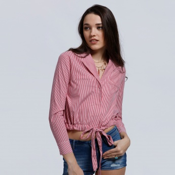Lee Cooper Striped Top with Long Sleeves and Tie Up Hem