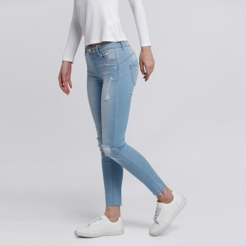 Lee Cooper Distressed  Ankle Length Jeans