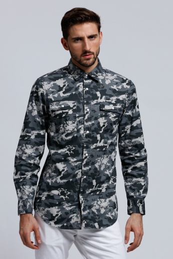 Lee Cooper Printed Shirt with Long Sleeves and Pocket Detail
