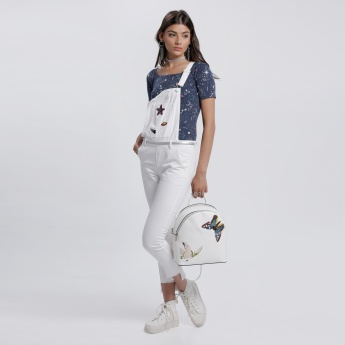 Lee Cooper Dungaree with Embroidered Badges