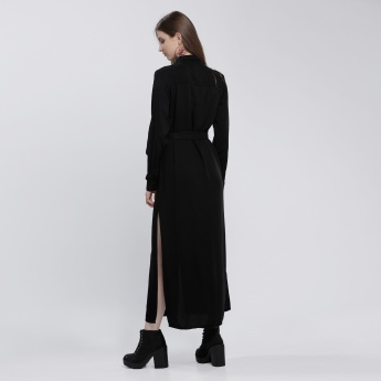 Lee Cooper Maxi Dress with Slits and Long Sleeves