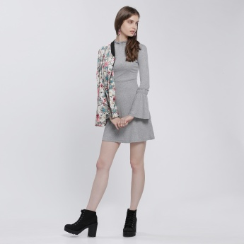 Lee Cooper Mini Dress with Long Sleeves and Frill Detail