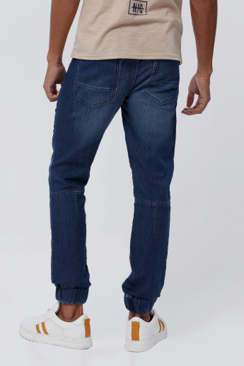 Lee Cooper Full Length Denim Jog Pants with Elasticised Waistband