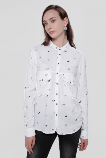 Lee Cooper Printed Long Sleeves Shirt with Complete Placket