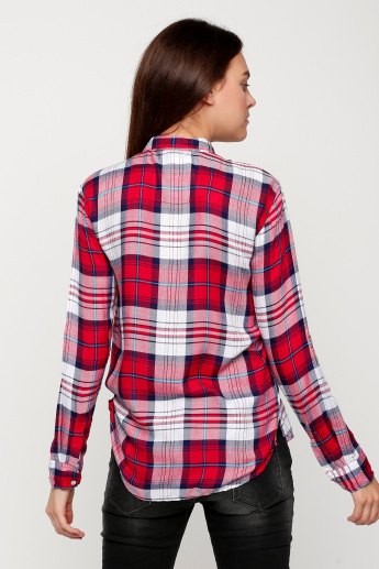Lee Cooper Chequered Shirt with Long Sleeves and Button Placket