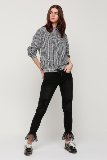 Lee Cooper Chequered Top with Long Sleeves and Tie Up Hem