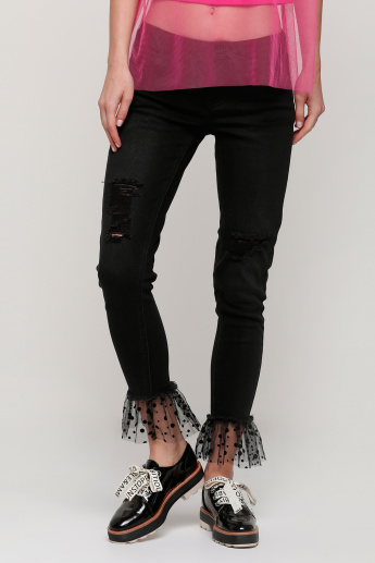 Lee Cooper Full Length Jeans with Mesh Detail
