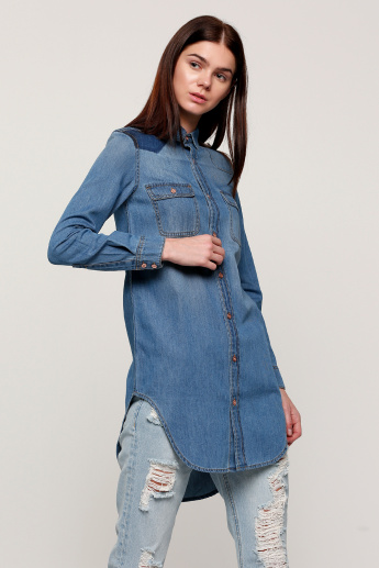 cde2d5341 Lee Cooper Long Line Denim Shirt with Long Sleeves | Blue