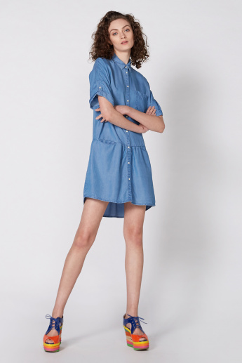 Lee Cooper Denim Mini Dress with Short Sleeves and Complete Placket