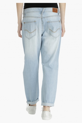 Low Rise Jeans with Distressing
