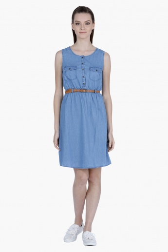 Sleeveless Denim Midi Dress