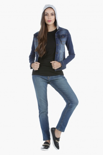 Denim Biker Detachable Hood Jacket in Regular Fit