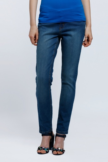 Full Length Stone Wash Jeans In Skinny Fit