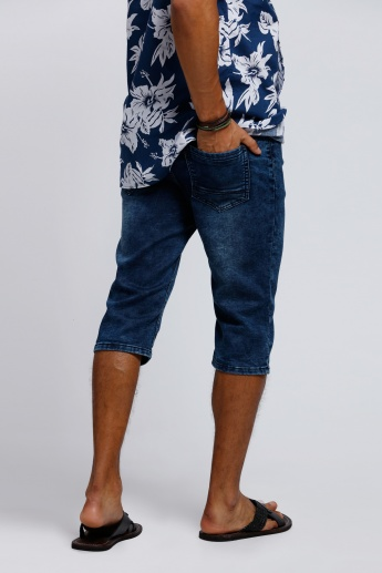 Shorts with Ribbed Waistband and Pocket Detail