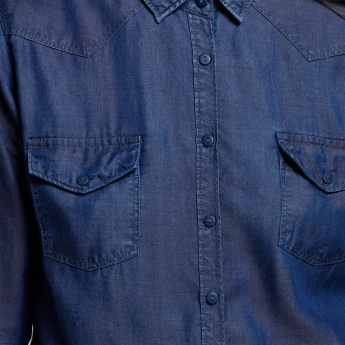 Eco Friendly Denim Shirt with Long Sleeves and Pocket Detail