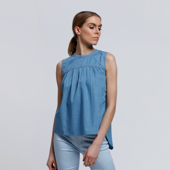 Sleeveless Denim Top with Lace Detail and Keyhole Closure