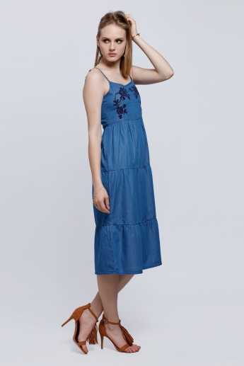 Embroidered Dress with Spaghetti Straps