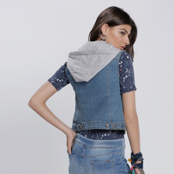 Sleeveless Denim Jacket with Hood and Complete Button Placket
