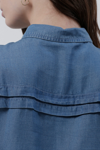 Sustainability Denim Shirt with 3/4 Sleeves