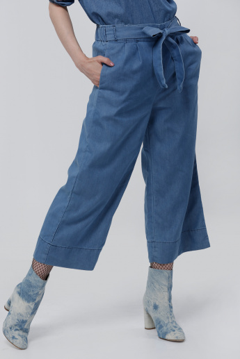 Denim Pants with Elasticised Waistband and Tie Up