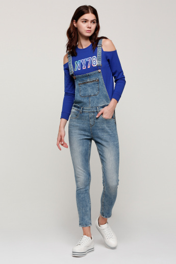 b50cc0c72c6 Full Length Denim Dungarees with Pocket Detail