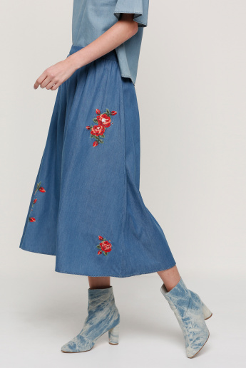 Embroidered Denim Maxi Skirt with Zip Closure