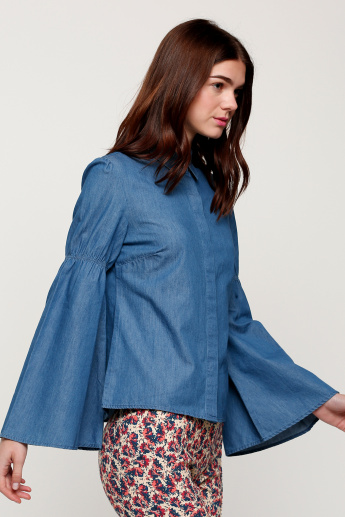 Concealed Placket Shirt with Flare Sleeves