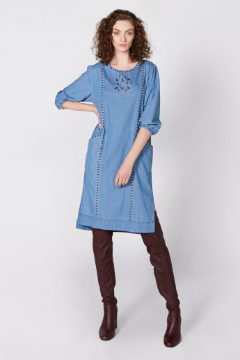 Embroidered Denim Midi Dress with 3/4 Sleeves and Side Slit