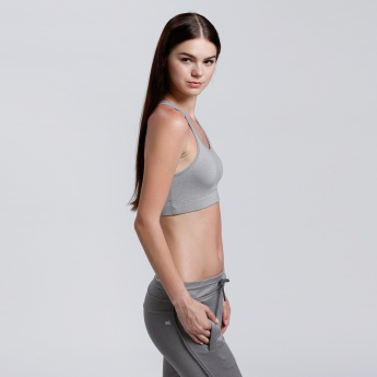 Round Neck Sports Bra with Cross Strap Back