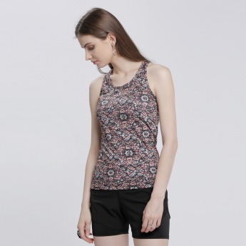 Printed Racerback Vest with Round Neck