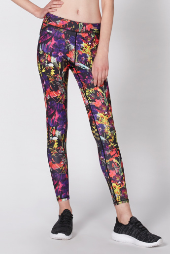 Printed Leggings with 3/4 Length and Elasticised Waistband