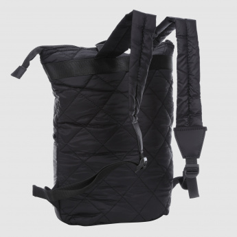 Quilted Backpack with Zip Closure