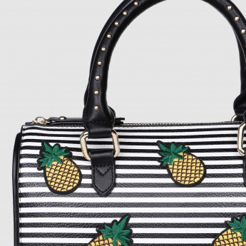 Embroidered Handbag with Zip Closure and Studded Handles