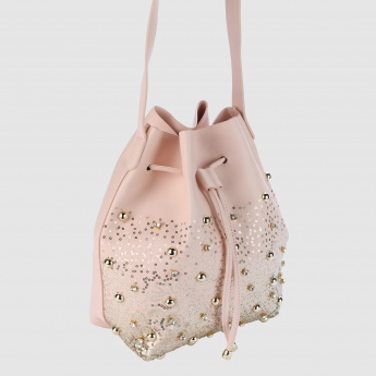 Embellished Crossbody Bag with Drawstring Closure