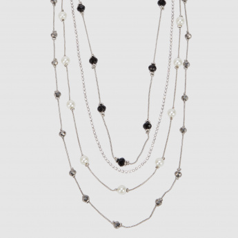 Studded Multi Layer Necklace with Lobster Clasp