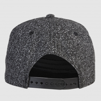 Cap with Snap Closure and Applique Detail