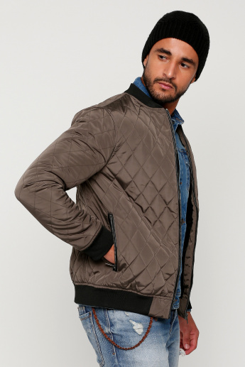 Quilted Bomber Jacket with Zip Closure and Long Sleeves