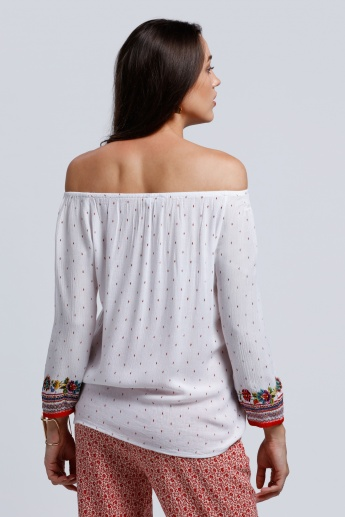 Printed Off Shoulder Top with Tassels