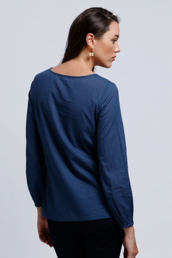 Embroidered Top with Long Sleeves and Tie Up Neck