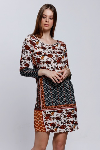 Printed Round Neck Top with 3/4 Sleeves