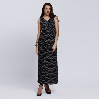 Printed Sleeveless Maxi Dress with V-Neck