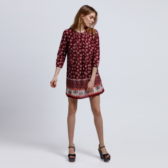 Printed Tunic with Henley Neck and 3/4 Sleeves