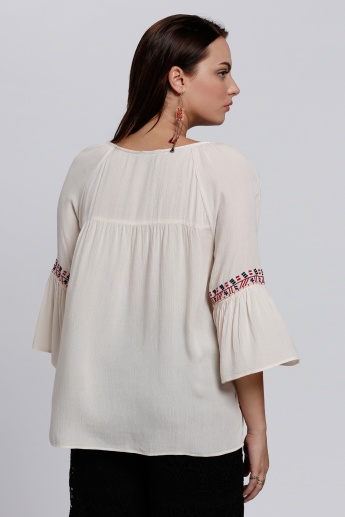 Embroidered Top with 3/4 Sleeves and Tie Up Neck