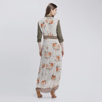 Floral Print Long Shrug with Lace Detailing