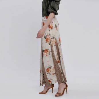 Floral Printed Maxi Skirt with Zip Closure