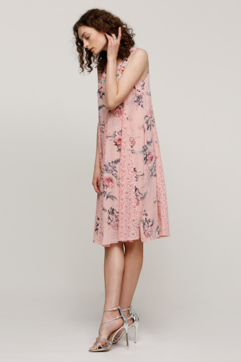 Printed Sleeveless Dress with Scoop Neck