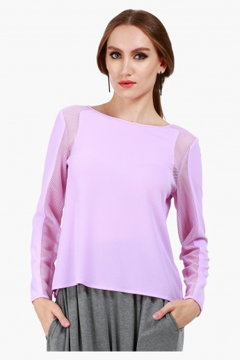 Formal Blouse with Long Sleeves and Mesh Panel Inserts in Regular Fit