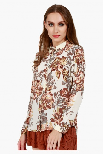 Collared Shirt with Long Sleeves and All Over Print
