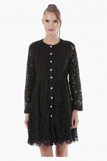 Lace Button-Down Short Dress with Full Sleeves in Regular Fit